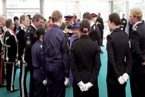 Police cadets meet the queen