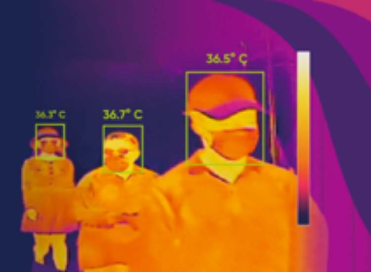 Thermal images of three people