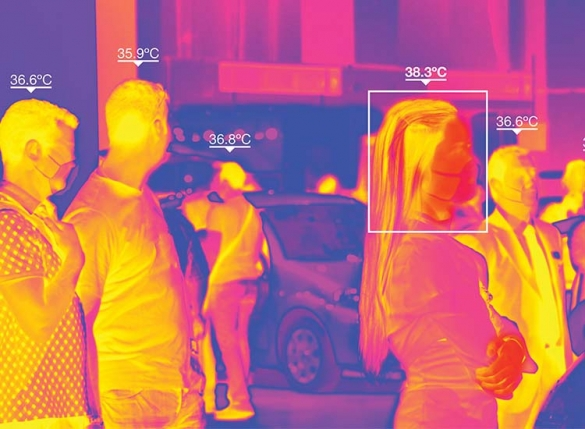 thermal camera screen with people