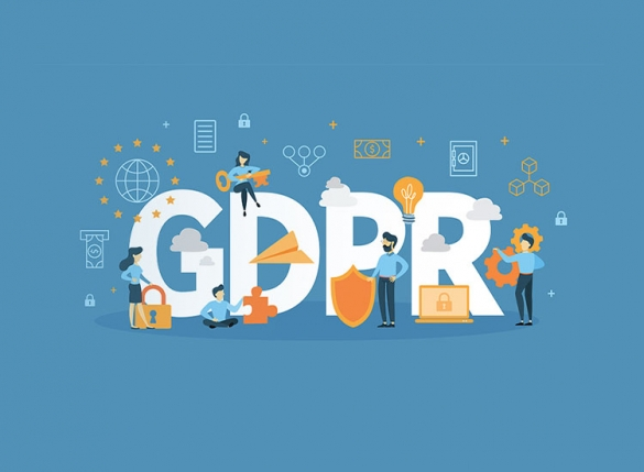 Letters GDPR with people on