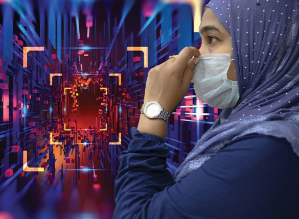 woman in mask in futuristic scene
