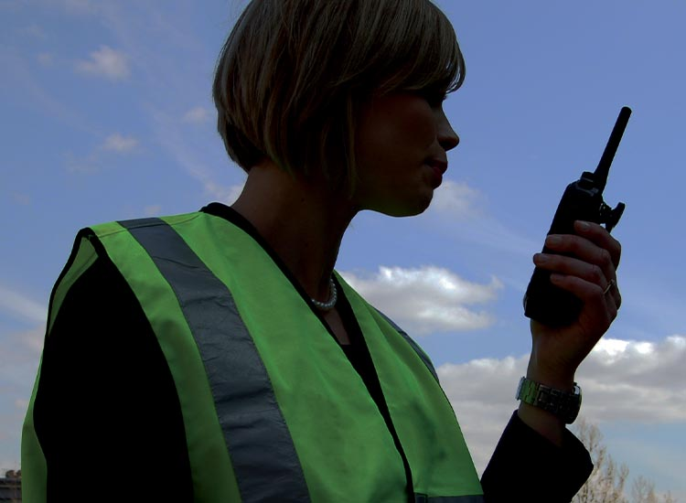 security officer with radio