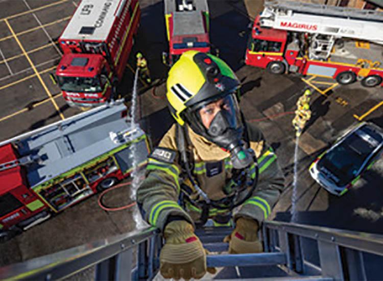 fire officer up ladder