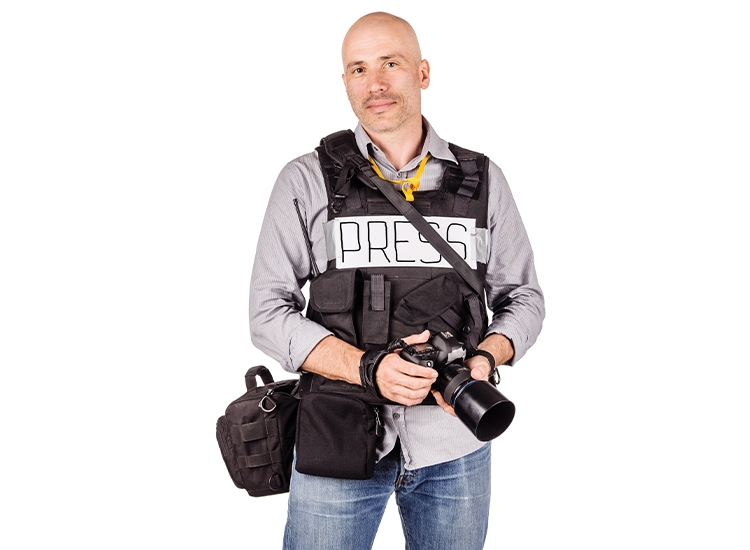 journalist with cameras