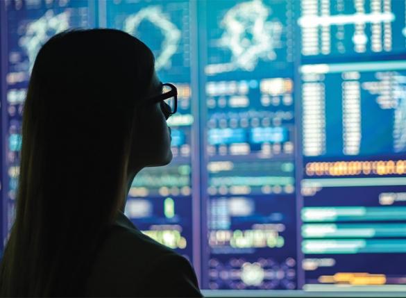 woman looking at graphs